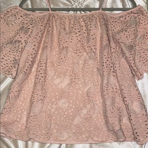 Off the shoulder, light pink, lace top
